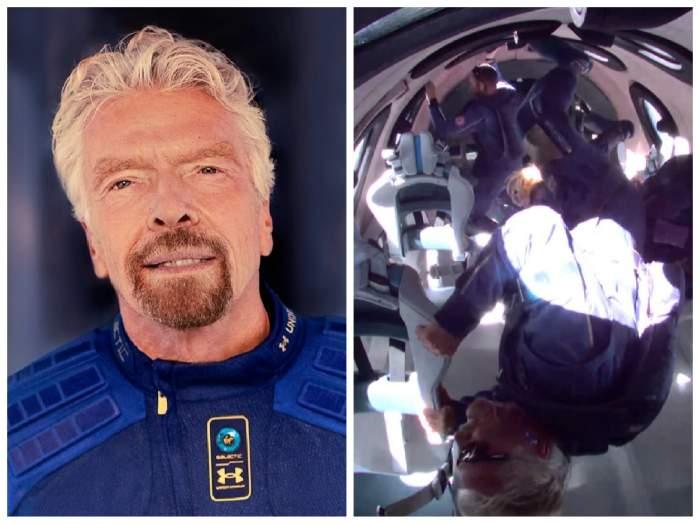 Richard Branson în costumul de astronaut și el alături de echipaj în nava spațială
