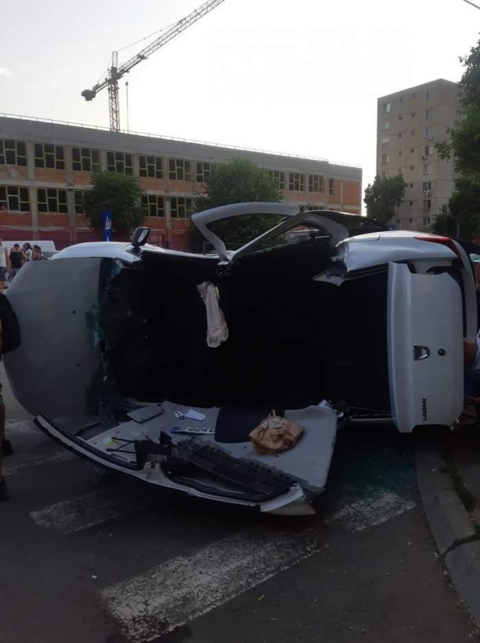Accident îngrozitor în sectorul 5 al Capitalei! O victimă a rămas încarcerată, iar alte patru au fost transportate la spital / FOTO