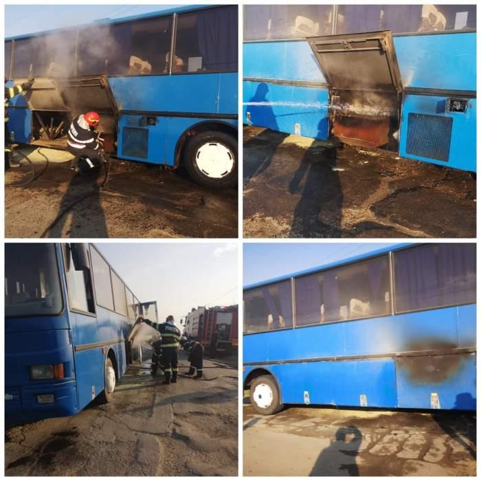Un autocar cu 21 de copii a luat foc în această dimineață. Pompierii au intervenit de urgență / FOTO