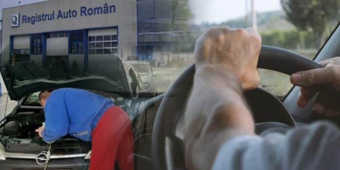 Colaj foto cu un mecanic și un șofer la RAR
