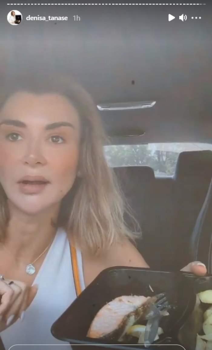 """Denisa Tănase """"trăiește"""" în mașină. Vedeta mănâncă și se usucă la păr pe drum: """"Secundele sunt importante"""" / VIDEO"""