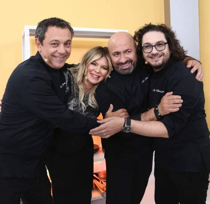 Sorin Bontea, Florin Dumitrescu, Cătălin Scărlătescu și Gina Pistol, îmbrățișați la Antena 1