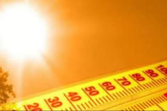 O fotografie cu un soare însorit și un termometru