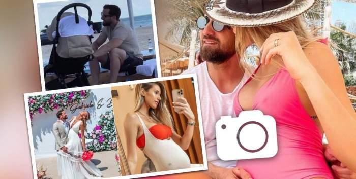 Colaj foto cu Dani Oțil și Gabriela Prisacariu însărcinată