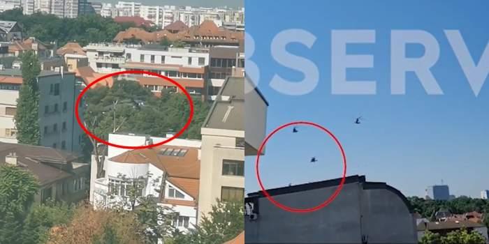 Elicopterul militar din București, filmat cu puțin timp înainte de a ateriza. A coborât brusc la foarte mică înălțime printre clădiri / VIDEO