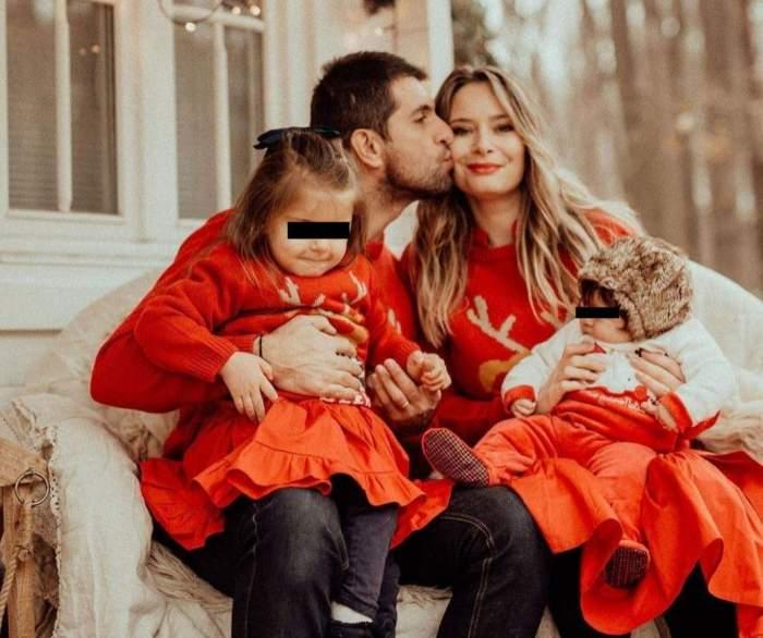 Laura Cosoi, soțul și cele două fetițe ale lor