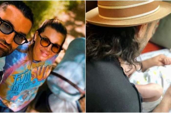 Colaj foto cu Smiley, Gina Pistol și primul lor copil