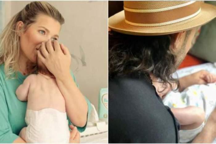 Colaj foto cu Gina Pistol, Smiley și fetița lor