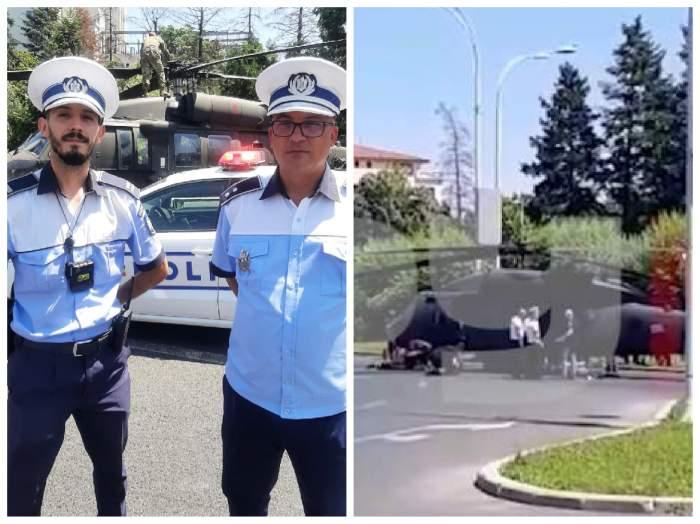 colaj cu polițiștii care au salvat situația la aterizare forțată a elicopterului