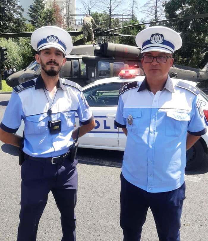 """Ei sunt polițiștii care au împiedicat producerea unei tragedii la aterizarea elicopterului în București: """"Fugi repede și blochează traficul!"""""""