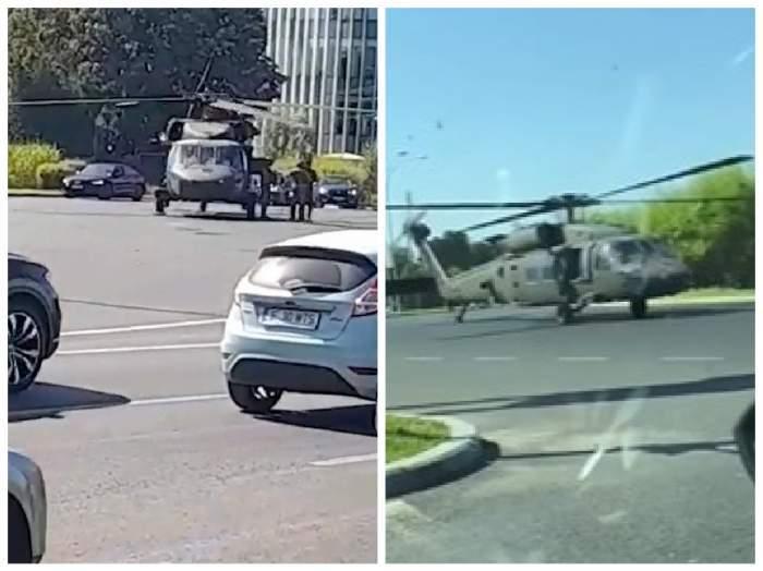 Colaj foto cu elicopterul de pe străzile Bucureștiului