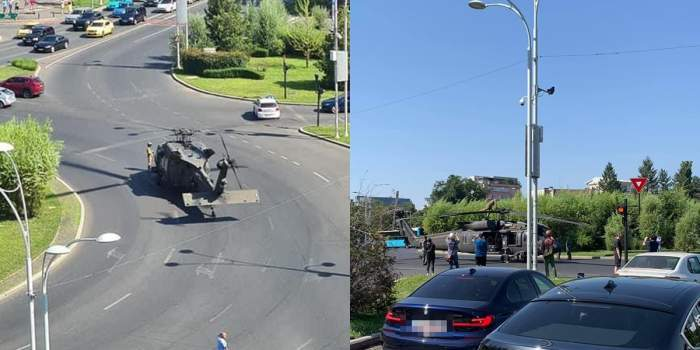 Colaj foto cu elicopterul care a aterizat în București