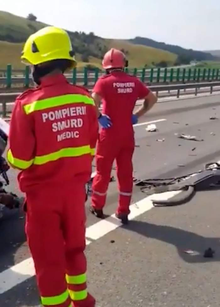 Accident grav pe autostrada Aiud-Turda! Un bărbat a murit, după ce un camion i-a spulberat mașina aflată pe banda de urgență / VIDEO