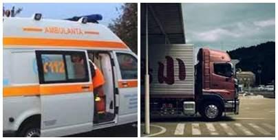 Colaj foto cu o ambulanță și un TIR
