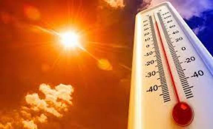 Un termometru și un soare strălucitor