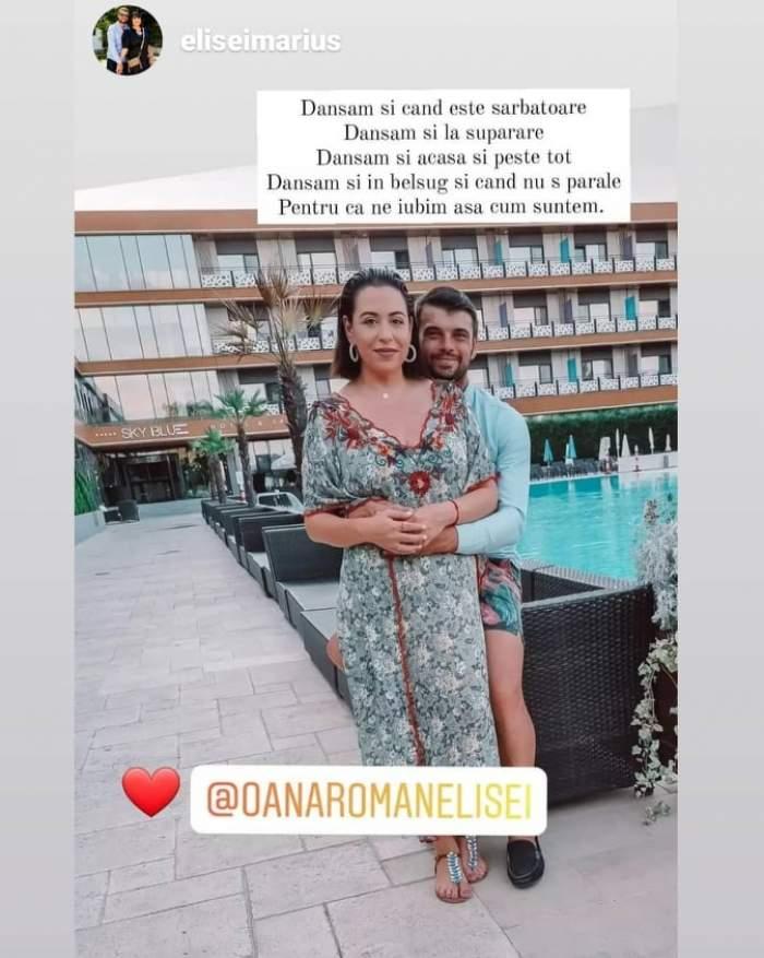 Oana Roman și Marius Elisei, îmbrățișați lângă piscină