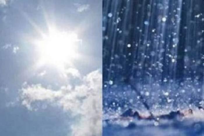 Colj foto cu un cer însorit și o zi ploioasă