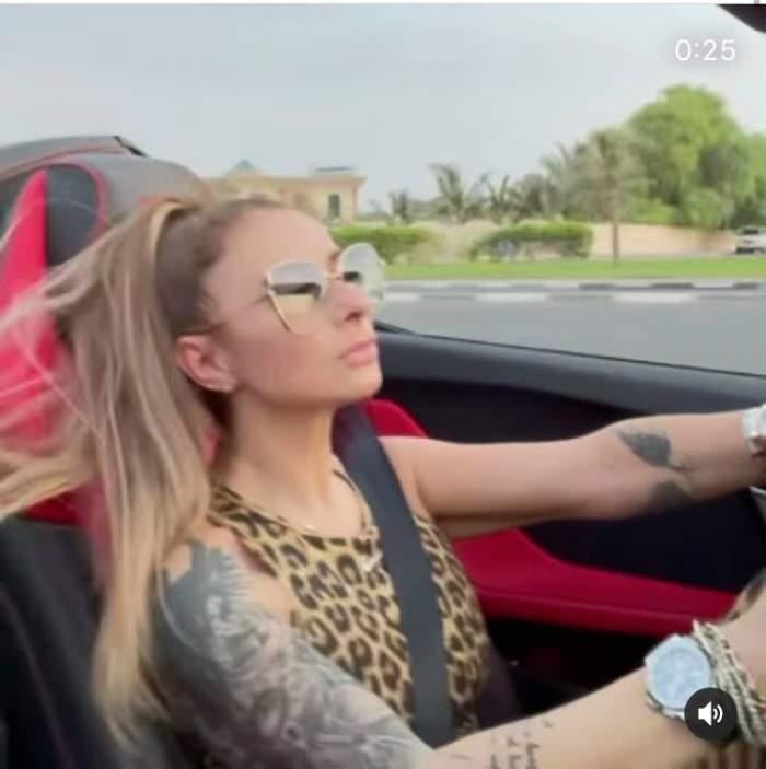 Anamaria Prodan, show de zile mari cu bolidul de lux pe străzile din Dubai. Sexy impresara, apariție într-o ținută de senzație / FOTO