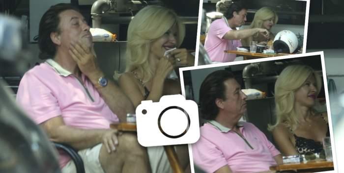 Edy de România și-a vopsit părul pentru a ține pasul cu soția. Milionarul, de nedezlipit de blondină, chiar și în timp ce mănâncă / PAPARAZZI