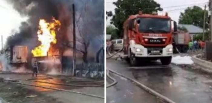 Incendiu devastator la un centru de butelii din Prahova! Un tânăr de 17 ani, cu arsuri pe 92% din corp, a fost transportat de urgență la spital