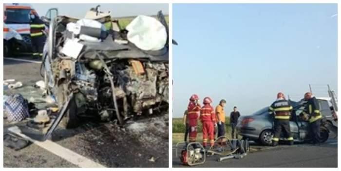 Colaj foto cu imagini de la locul accidentului