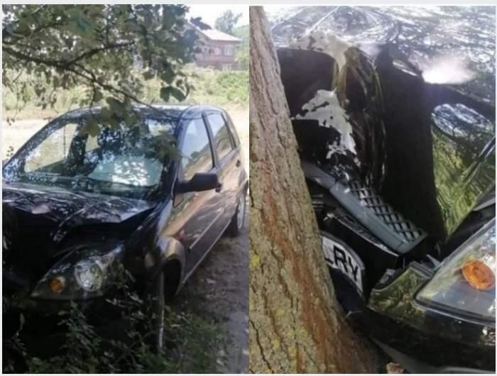 Un tânăr a intrat într-un copac cu o mașină furată, în Craiova. Proprietara își uitase cheile în autoturism / FOTO