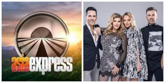 Colaj foto cu sigla emisiunii Asia Express și juriul X Factor