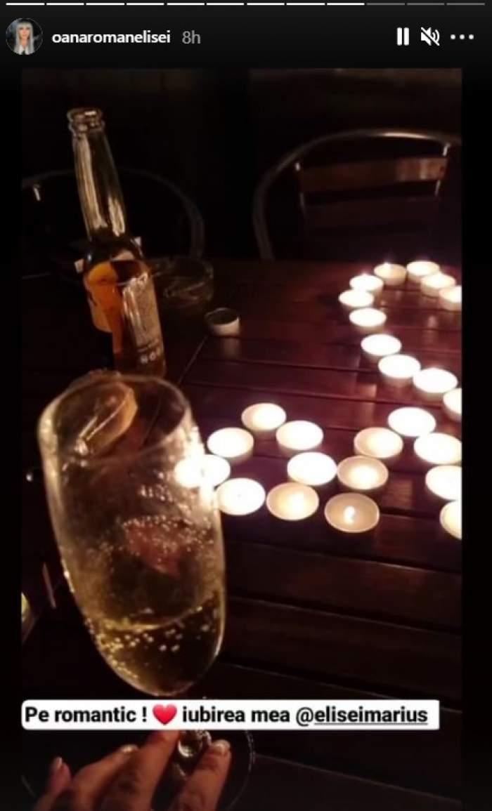 """Marius Elisei, cină romantică pentru Oana Roman la miezul nopții. Bărbatul a umplut masa cu lumânări: """"Așa frumos, iubire!"""" / FOTO"""