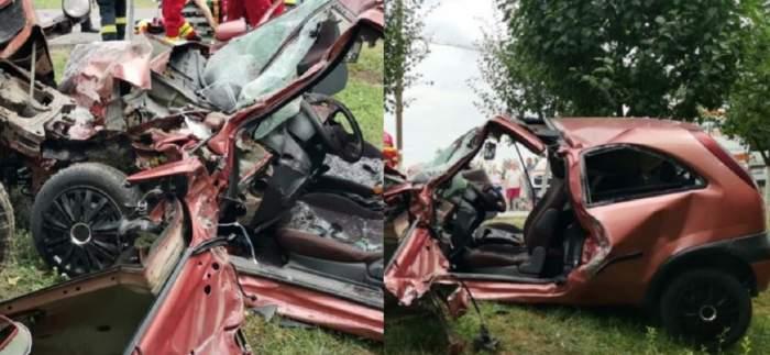 Un colaj cu accidentul din județul Arad în care o femeie și un bărbat au murit. Atât mașina, cât și tractorul care a strivit-o sunt transformate în fiare contorsionate.