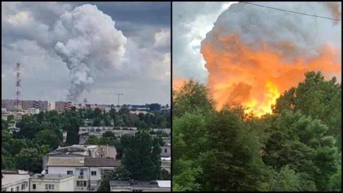 Trei explozii urmate de un incendiu puternic, la un depozit din Constanța. Magazie de aluminiu, cuprinsă de flăcări! / FOTO
