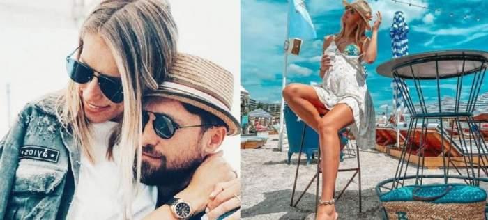 În stânga Dani Oțil și Gabriela Prisăcariu poartă ochelari de soare și se țin în brațe, în dreapta ea stă pe un scaun pe litoral și poartă rochie albă și costum de baie albastru.