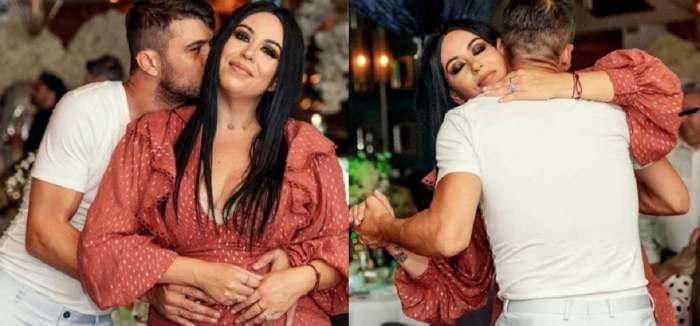 Oana Roman și Marius Elisei la un eveniment. În stânga el o sărută pe obraz, iar în dreapta dansează. Ea portă rochie maro, iar el tricou alb.