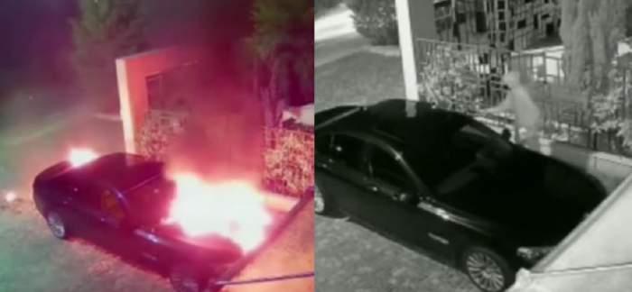 Mașina unui luptător de kickbox din Timișoara, incendiată în toiul nopții! Făptașul a fost surprins de camerele de supraverghere. Cum a acționat / FOTO