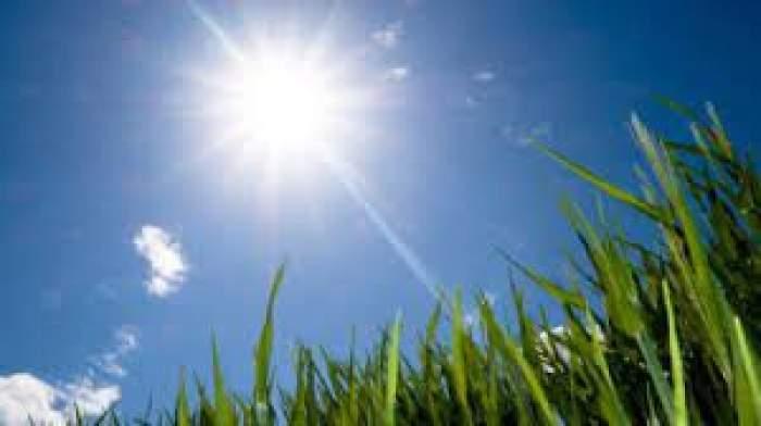 Soare pe cer și o poiană înverzită