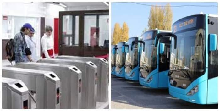 Colaj foto cu turnicheții de la metrou și mai multe autobuze parcate