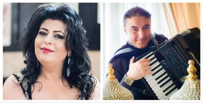 Colaj foto cu Paula Lincan și Marian Mexicanu cu acordeonul în brațe