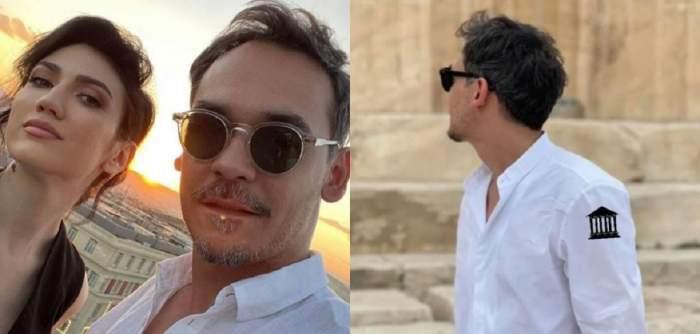 În stânga Daliana Răducan și Răzvan Simion își fac un selfie din Grecia. Ea poartă rochie neagră, iar el cămașă albă. În dreapta el privește într-o parte și are ochelari de soare.