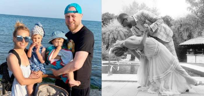 În stânga Simona Gherghe și soțul ei se află împreună cu copiii la mare și îi țin în brațe zâmbind. În dreapta vedeta și Răzvan Săndulescu dansează la nuntă.