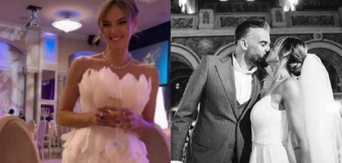 În stânga Roxana Ionescu poartă o rochie albă și ține în mână un pahar, la nuntă, iar în dreapta e în biserică, la cununia religioasă, și-l sărută pe soțul ei, Tinu Vidaicu.