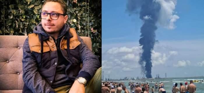 În stânga e Iulian Atanasiu, tânărul mort în explozia de la Petromidia Năvodari, iar în dreapta e o poză de pe litoral în care se văd mai mulți turiști și fumul produs de catastrofă.