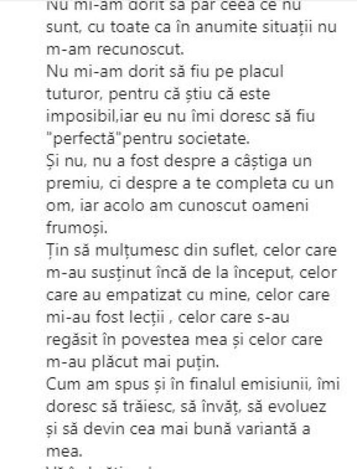 """Simona Bălăceanu, mesaj emoționant pe Instagram după finala Burlacul sezonul 6: """"Nu mi-am dorit să fiu pe placul tuturor"""". Internauții au reacționat imediat / FOTO"""