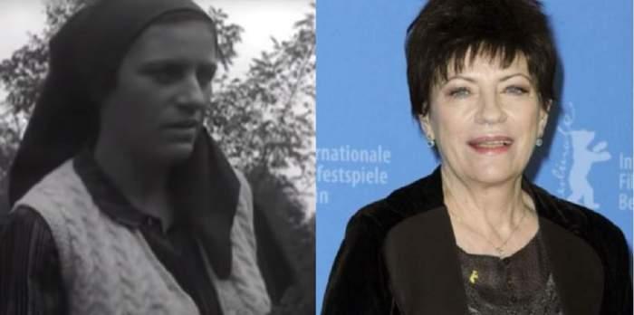 În stânga Luminița Gheorghiu juca în filmul Moromeții și purta batic. În dreapta purta sacou negru și zâmbea.