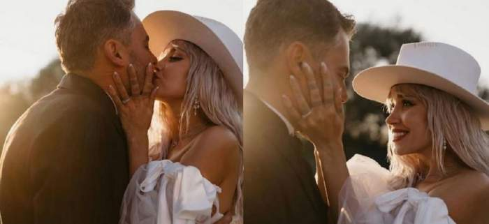 Alina Ceușan și Raul Tisa la nunta lor. În prima poză se sărută, iar în a doua ea în privește zâmbind și ținându-i mâinile pe față.