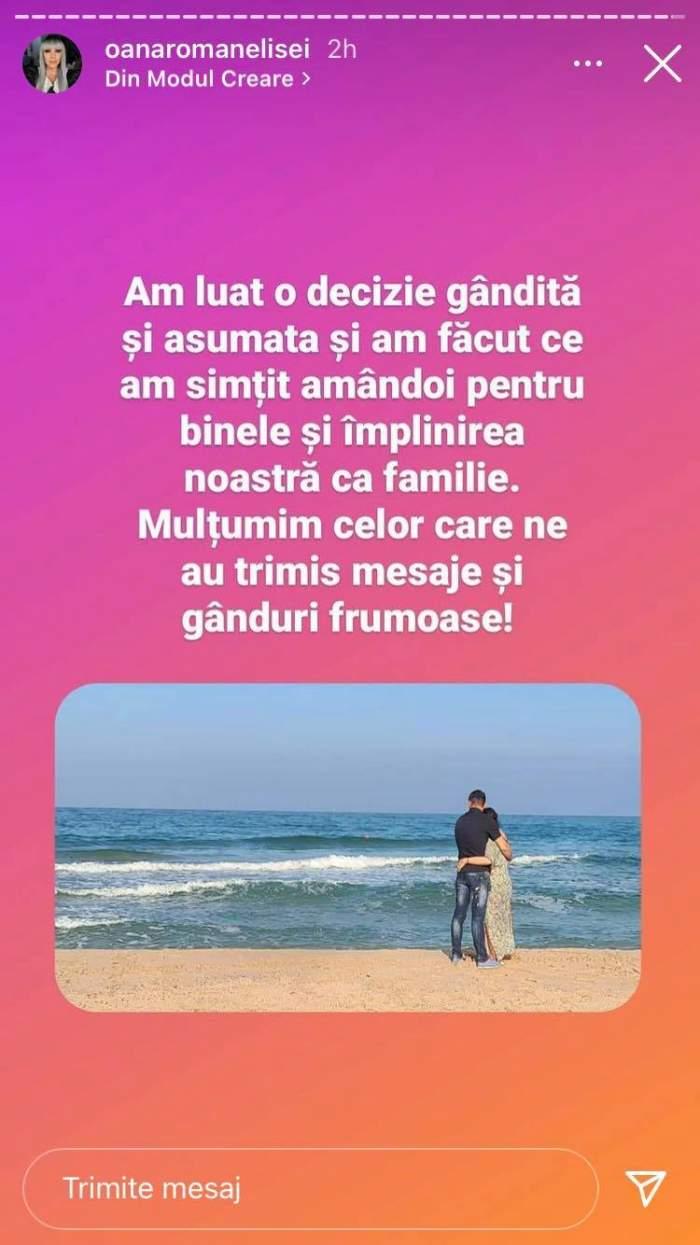 Mesajul Oanei Roman de pe Instagram referitor la împăcarea cu Marius Elisei.