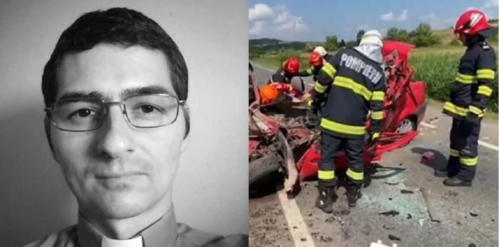 În stânga e o poză alb-negru cu Anton Cristian Biru, preotul din Sălaj care a murit în accidentul din județul Cluj. În dreapta e o poză cu pompierii și medicii sosiți la locul tragediei.