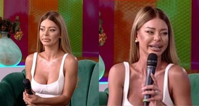 Ana Maria Mocanu e pe canapeaua verde de la Star Matinal și vorbește la microfon. Vedeta poartă maiou alb.