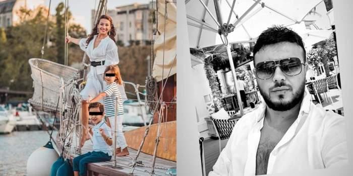 claudia patrascanu cu copiii pe vapor si gabi badalau alb negru