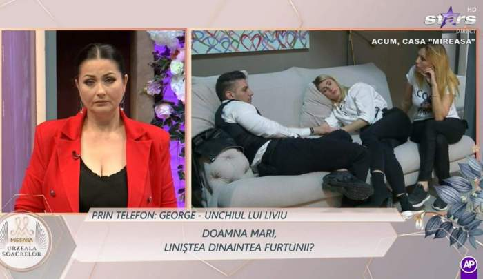 Colaj foto cu Gabriela Crisrea, Liviu și Maria pe canapea