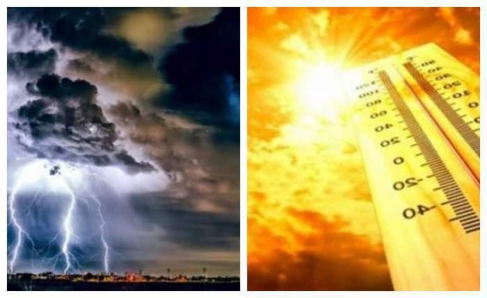 Colaj foto cu o furtună și o zi caniculă