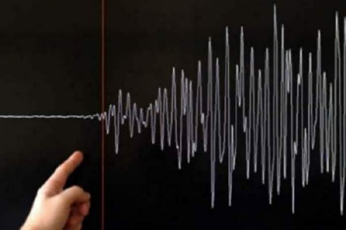 Un om care arată spre datele de măsurrare ale unui cutremur